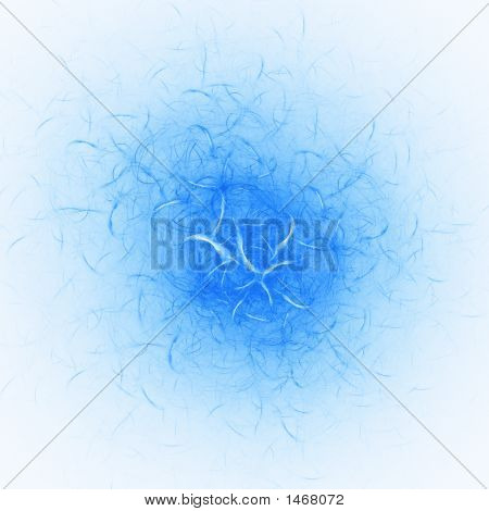 abstract chaos blue cell worms on white background poster