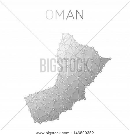 Oman Polygonal Vector Map. Molecular Structure Country Map Design. Network Connections Polygonal Oma