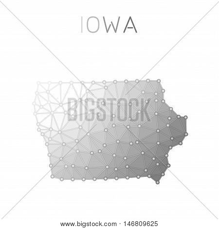 Iowa Polygonal Vector Map. Molecular Structure Us State Map Design. Network Connections Polygonal Io