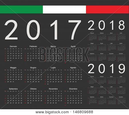 Set Of Black Italian 2017, 2018, 2019 Year Vector Calendars