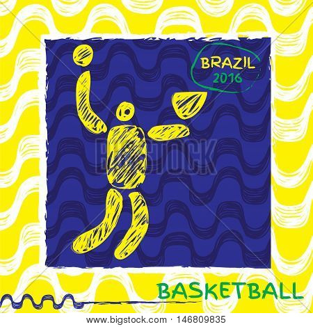 Brasil summer games sport icon pictogram. Icons olympics sport with Ipanema pattern. Vector hand drawn Illustration bsketball sport icon.