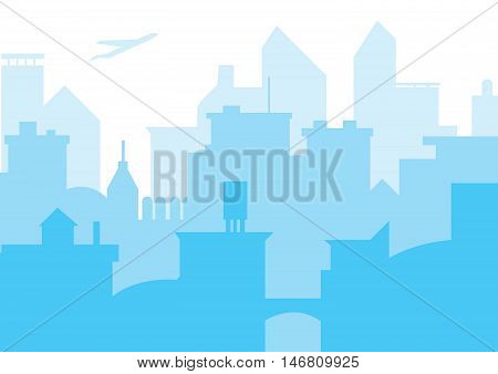 Modern skyscrapers in business district. Downtown building. Cityscape landscape. City design architecture collection. Vector illustration. Concept of skyscrapers in city landscape. Vector skyscrapers.