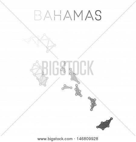 Bahamas Polygonal Vector Map. Molecular Structure Country Map Design. Network Connections Polygonal