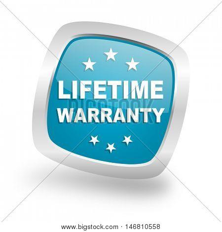 lifetime warranty square glossy chrome silver metallic web icon