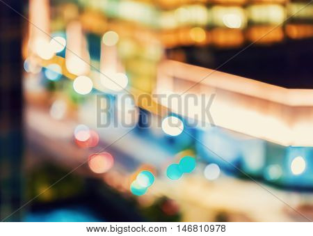 Blurred Abstract Background Of Acity At Night
