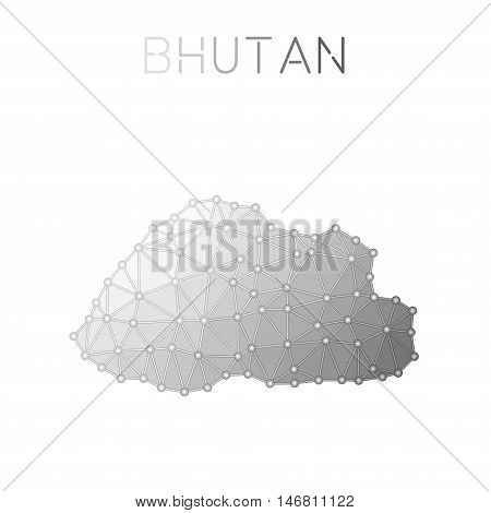 Bhutan Polygonal Vector Map. Molecular Structure Country Map Design. Network Connections Polygonal B