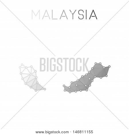 Malaysia Polygonal Vector Map. Molecular Structure Country Map Design. Network Connections Polygonal