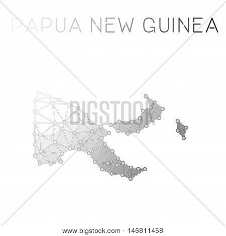 Papua New Guinea Polygonal Vector Map. Molecular Structure Country Map Design. Network Connections P