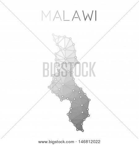 Malawi Polygonal Vector Map. Molecular Structure Country Map Design. Network Connections Polygonal M