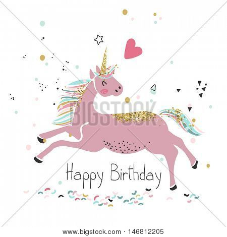 pink unicorn, happy birthday card