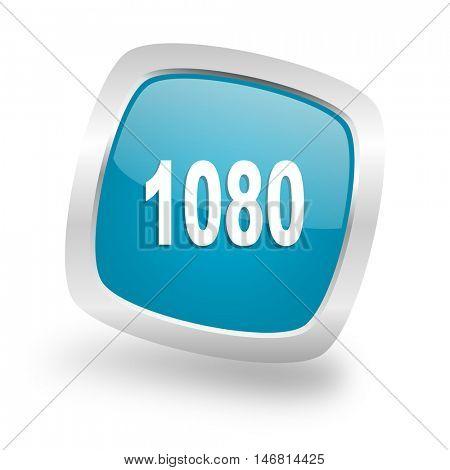 1080 square glossy chrome silver metallic web icon