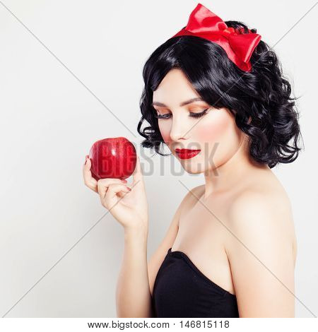 Brunette Girl with Red Apple. Carnival Snow-White character