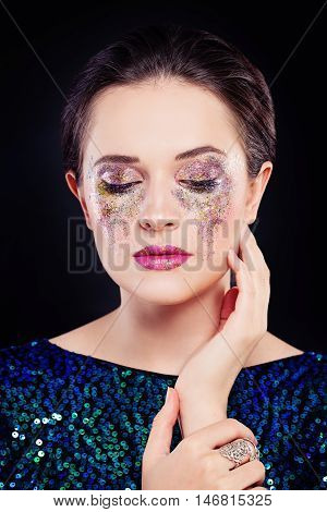 Perfect Woman with Artistic Makeup and Glitters Eye Shadow