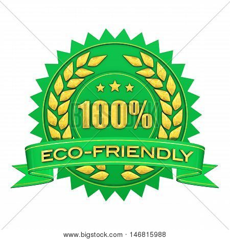 100 percent eco-fiendly green and gold warranty label isolated on white , Eco friendly , 3d illustration