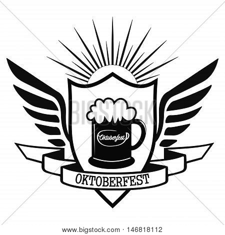 The heraldic logo of the Oktoberfest celebration in Munich 2016, beer glass with foam and calligraphic inscription Oktoberfest, vector illustration for print or website design