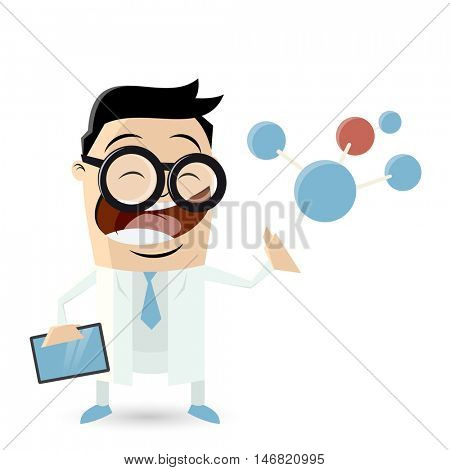 funny cartoon scientist with big molecule and tablet