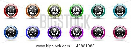 alarm round glossy colorful web icon set