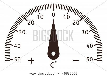 Thermometer dial. Black semi-circle scale. Vector illustration isolated on white background