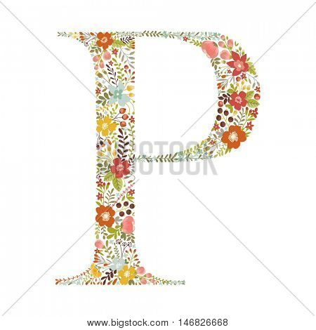 P letter with decorative floral ornament