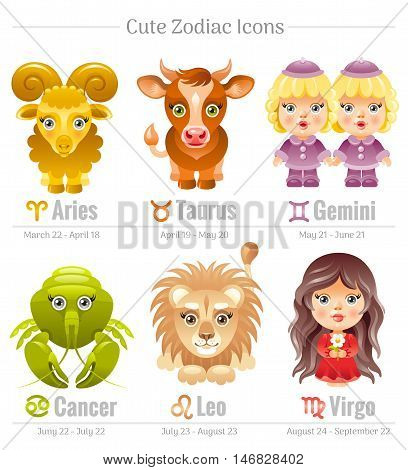 Zodiac astrological signs icon set. Cute cartoon characters. Abstract template Aries, Leo, Taurus, Virgo, Gemini, Cancer, vector icons. Horoscope modern illustration. Isolated on white background.