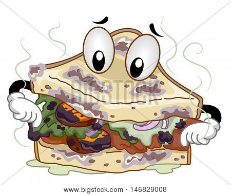 Mascot Illustration of a Stinking Spoiled Clubhouse Sandwich Sniffing Itself