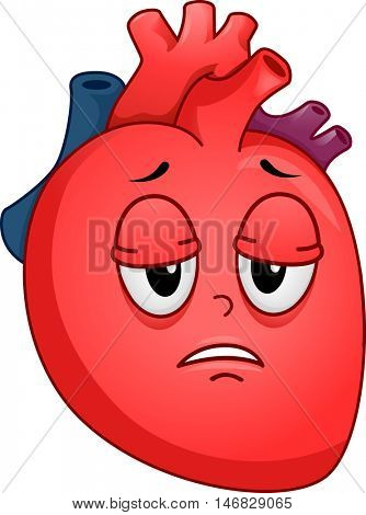 Mascot Illustration of an Unhealthy Human Heart Suffering from Fatigue