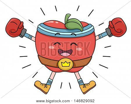 Mascot Illustration of a Happy Apple Wearing Boxing Gloves and a Championship Belt