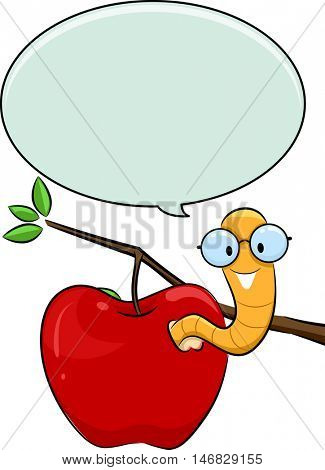 Illustration of a Nerdy Worm Crawling Out of an Apple with a Speech Bubble Above Its Head