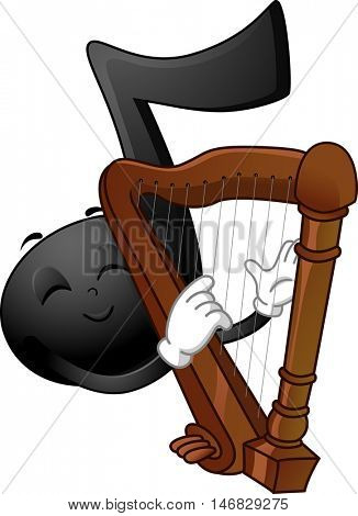 Mascot Illustration of a Black Musical Note Stroking the Strings of a Harp