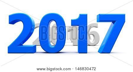Blue 2017 come represents the new year 2017 three-dimensional rendering 3D illustration