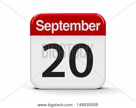 Calendar web button - The Twentieth of September three-dimensional rendering 3D illustration