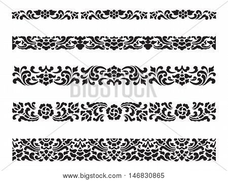 Line pattern Asian traditional art Design Vector set Thai traditional design (Lai Thai pattern)