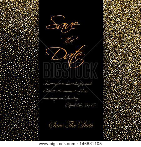 Cute cards with gold Confetti glitter. Perfect for valentines day, birthday, save the date invitation. Vector EPS