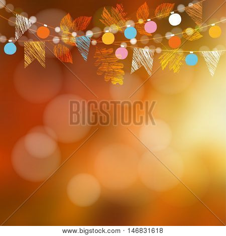 Autumn fall card banner. Garden party decoration. Garland of oak maple leaves lights party flags.Vector blurred illustration background.
