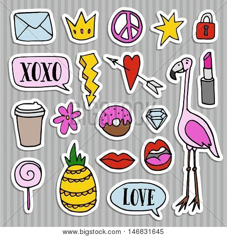 Set of fashion patches badges pins and stickers. Cool trendy hand drawn design. Isolatedvector objects poster