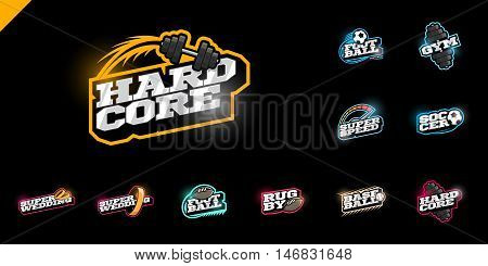 Retro Style Sport Logo Set. Soccer, Baseball, Rugby, Football, Gym Emblem And Wedding Text Logotype