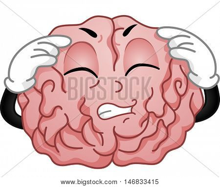 Illustration of a Brain Mascot Grimacing in Pain While Having a Migraine Attack