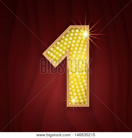 Gold light lamp bulb font number 1 One. Sparkling glitter design in style of vegas casino, burlesque cabaret and broadway show decoration. Shining numbers symbols of alphabet set for light board