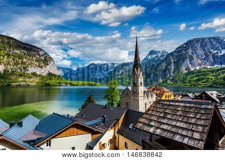 Austrian tourist destination Hallstatt village on  Hallst�¤tter See in Austrian alps. Salzkammergut region, Austria