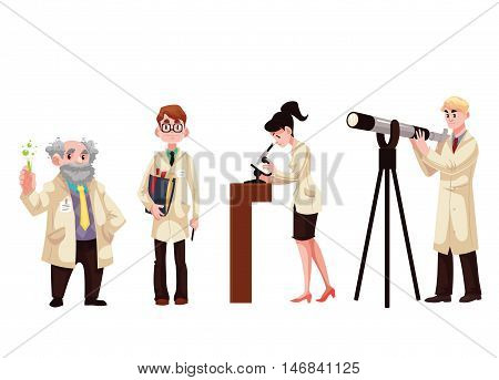 Set of male and female scientists, cartoon style vector illustration isolated on white background. Chemist, physicist, biologist, astronomer. Collection of scientists in white gowns
