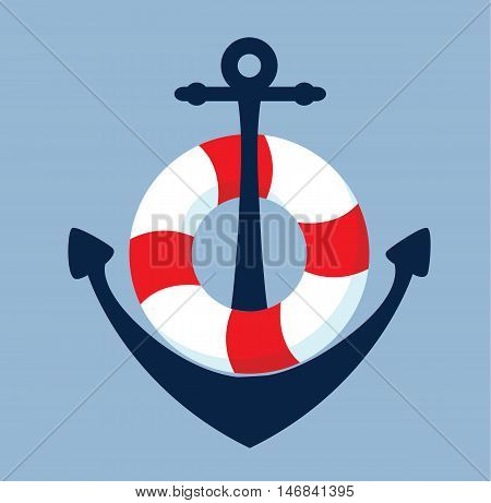 Anchor and lifebelt with background - symbol - vector