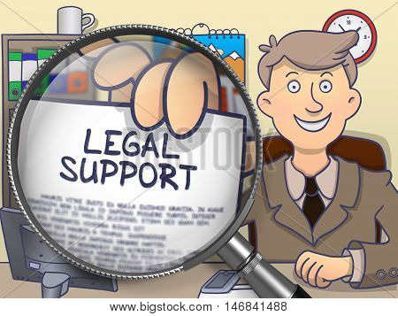 Legal Support through Magnifying Glass. Man Holds Out a Text on Paper. Closeup View. Colored Doodle Style Illustration.
