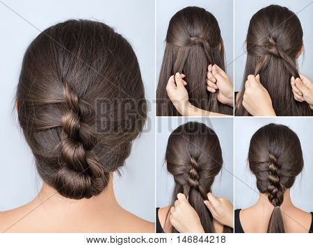 simple twisted hairstyle tutorial. Easy hairstyle for long hair. Hairstyle of twisted knots. Hairstyle tutorial