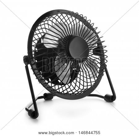 Black desktop electric fan isolated on white