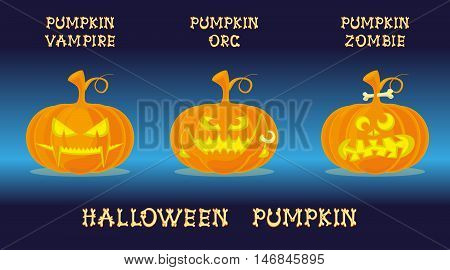 Set of halloween pumpkins with scary face in different character. Vampire Orc Zombie. Funny cartoon style. Vector illustration isolated on colorful background