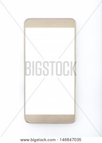 Modern Golden Color Smart Phone on White Background