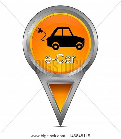 Map pointer with e-Car - 3d illustration