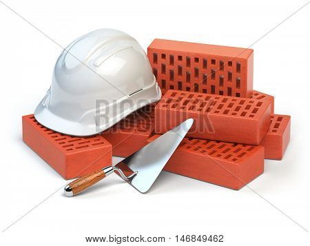 Hardhat,  bricks and trowel  isolated on white. Costruction concept. 3d illustration