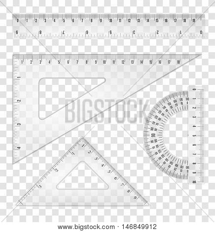 White transparent rulers and triangles set with both inch and mm grade. Vector objects