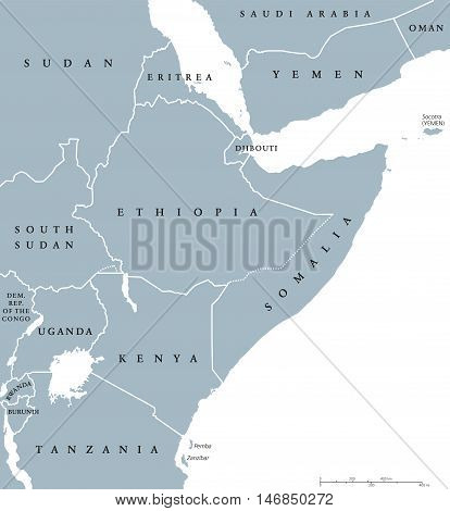 Horn of Africa peninsula countries political map with national borders and the biggest lakes. East Africa, in ancient times Land of the the Berbers. English labeling and scaling. Illustration on white